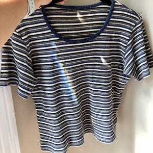 Vintage Striped Short Sleeve Ribbed Sweater Small